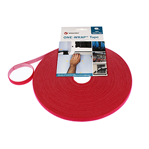 VELCRO® Brand ONE-WRAP® Strap 10mm x 25m Roll Red